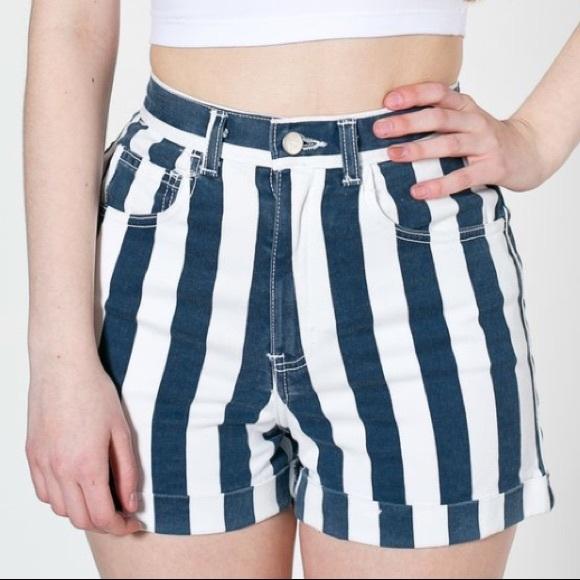 American Apparel Pants - American Apparel Striped High Rise Denim Mom Short